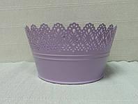 Кашпо металлическое ажурное-2, фиолетовое, 19см
