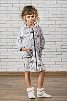 Махровый детский халат на молнии Лилии