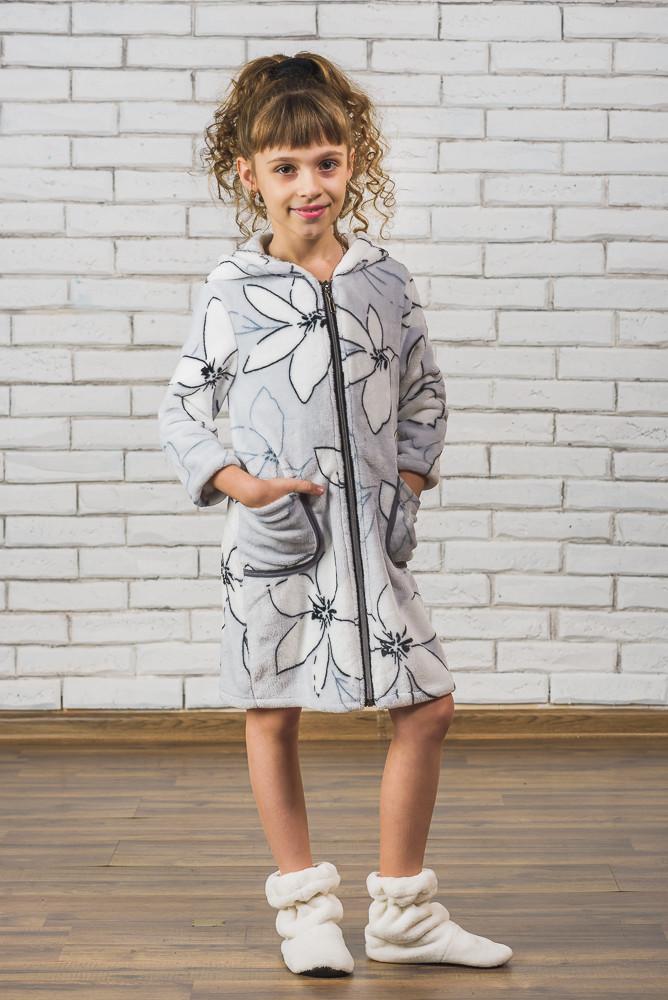 74845a88d5967 Махровый детский халат на молнии Лилии - Интернет-магазин