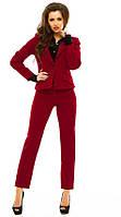 Офисный женский костюм с прямыми брюками и пиджаком на пуговицах с отложным воротником костюмная
