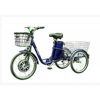 Трехколесный электровелосипед HAPPY (Blue) (трицикл) + реверс! (350 Вт)