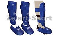 Защита голени с футами для единоборств PU ZEL BO-3719-B (р-р S-XL, синий,красный)