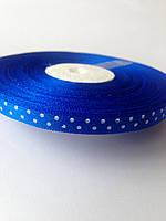 Лента атласная синяя с горохом 0,6 см
