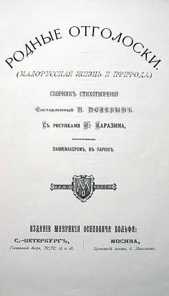 Книга Полевой П. Родные отголоски. Малорусская жизнь и природа. 1881 г., фото 2