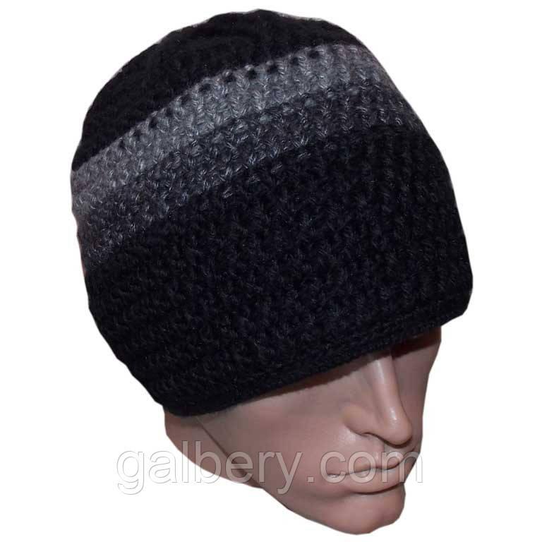 Мужская шапка (на подкладке) объемной ручной вязки