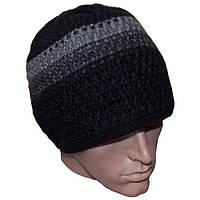 Мужская вязаная шапка (на тройной подкладке) объемной ручной вязки