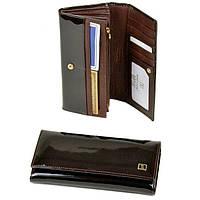 Красивый женский кошелек из лаковой кожи Bretton Gold W0807 brown, фото 1
