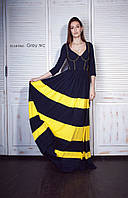Платье женское, темно-синее, желтый декор, мультисезон P-GREY №2