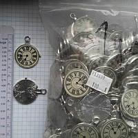 """Метал. подвеска """"Часы"""" серебро, 100 шт в уп."""