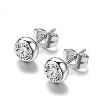 Серьги серебристые «Сияющие кристаллы» (Грейс Келли), фото 1