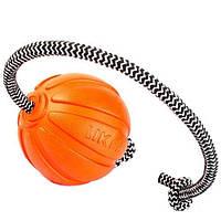 Мяч для собак ЛАЙКЕР Корд на шнуре, диаметр 5 см
