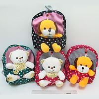 Рюкзак детский с игрушкой Мишки и собачки 27*24*8см mix4 JO0407