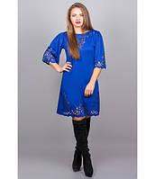 Трикотажное  женское платье с перфорацией  Валенсия электрик     Olis-Style 46-52 размеры
