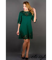 Трикотажное  женское зеленое  платье с перфорацией  Валенсия Olis-Style 46-52 размеры