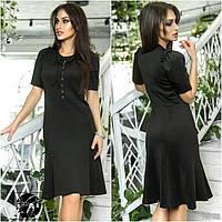 Женское платье черного цвета с коротким рукавом. Модель 12756.