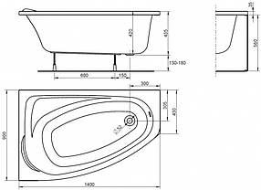 KOLO MYSTERY ванна асимметричная 140*90см левая/правая в комплекте с ножками и элементами крепления, фото 3