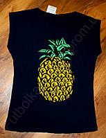 Женская футболка ананас синяя