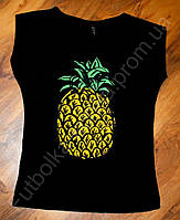 Женская футболка ананас черная