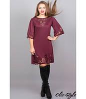Трикотажное  женское  бордовое  платье с перфорацией  Валенсия Olis-Style 46-52 размеры