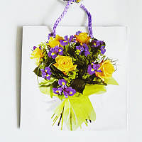 Подарочный пакет ЧАШКА 16х16х7,5 Букет