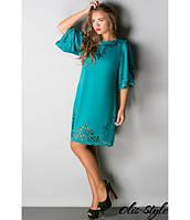 Трикотажное  женское    бирюзовое  платье с перфорацией  Валенсия Olis-Style 46-52 размеры