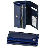 Красивый женский кошелек из лаковой кожи Bretton Gold W0807 blue, фото 1