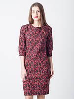 Нарядное жаккардовое платье Тифани вишня