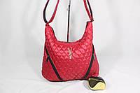 Стильная женская сумка для спорта и активного отдыха, материал стеганная плащевка, на одно плечо. Красный цвет