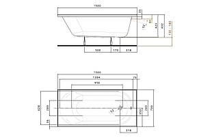 KOLO OPAL PLUS ванна прямоугольная 150*70 см, без ножек, фото 3