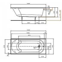 KOLO OPAL PLUS ванна прямоугольная 160*70 см, без ножек, фото 3