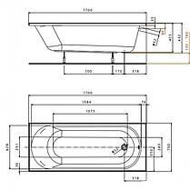 KOLO OPAL PLUS ванна прямоугольная 170*70 см, без ножек, фото 3