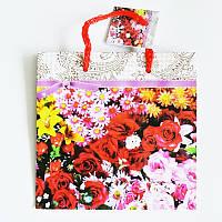 Подарочный пакет ЧАШКА 16х16х7,5 Цветы