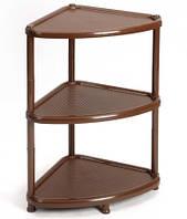 Полочка пластиковая 2 варианта сборки (угловая, этажерка) коричневая, TM Idea М2751