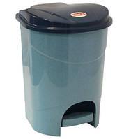 Ведро для мусора 19 л с педалью голуб. мрамор, TM Idea
