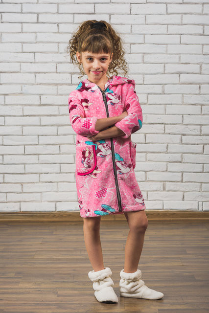 Махровый детский халат на молнии Микки