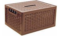 """Ящик для хранения вещей """"Ротанг""""18,5x12,6x28 см бежевый, TM Idea"""