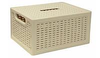 """Ящик для хранения вещей """"Ротанг""""18,5x12,6x28 см белый, TM Idea"""