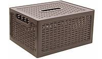 """Ящик для хранения вещей """"Ротанг""""18,5x12,6x28 см коричневый, TM Idea"""