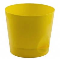 """Цветочный горшок """"Ника"""" с прикорневым поливом Ø 12 см (желтый), TM Idea, M3071"""
