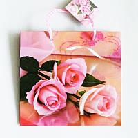 Подарочный пакет ЧАШКА 16х16х7,5 Розовые розы