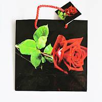 Подарочный пакет ЧАШКА 16х16х7,5 см Роза