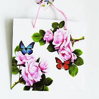 Подарочный пакет ЧАШКА 16х16х7,5 Нарисованные розы