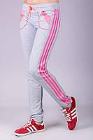 Серые спортивные брюки женские штаны с лампасами трикотажные на резинке (манжет) Украина