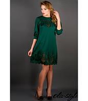 Стильное зеленое платье с перфорацией Айсель Olis-Style 44-52 размеры