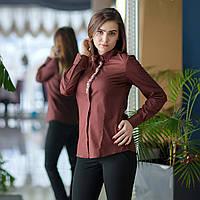 """Коричневая женская рубашка c потайной планкой и вышивкой """"цветы"""" . Разм. XS, S, M, L, XL, XXL.Davanti."""