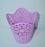 Кашпо для орхидей ажур пластик фиолет