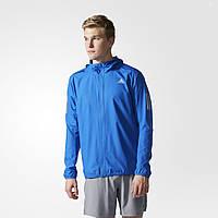 Мужская беговая куртка адидас Response Hooded BQ2149 ветрозащитная - 2017