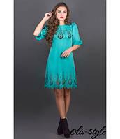 Стильное трикотажное бирюзовое платье с перфорацией Айсель Olis-Style 44-52 размеры