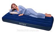 Надувной матрас (кровать) велюр INTEX 68757 синий,(без насоса)в кор. 99*191*22см IKD