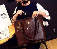 Женская сумка большая с ручками + сумка через плечо в наборе